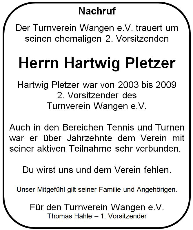 "Nachruf Hartwig ""Hasso"" Pletzer"